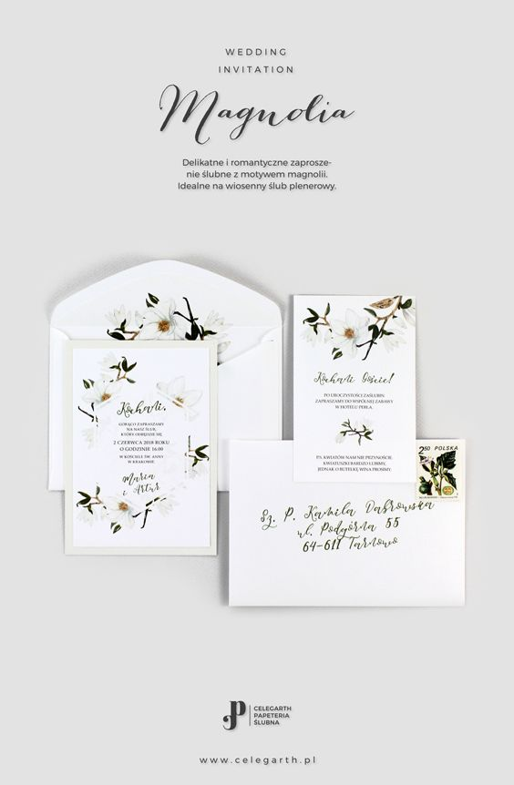 Botaniczne zaproszenie ślubne Magnolia | Pracownia Celegarth #zaproszeniaslubne #zaproszenianaslub #zaproszenia #rustykalnezaproszenia #greenery #motywnaslub #pomyslnazaproszenia #eko #magnolia #wesele #slub #pomyslnaslub #celegarth #weddinginvitation #weddingstationery #weddingdesign #rustic #botanicalinvitation