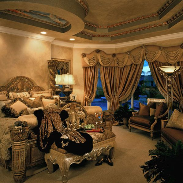 Mediterranean master bedroom with faux paint finish for What finish paint for bedroom
