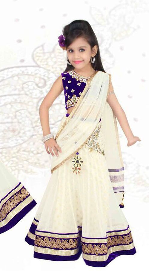 Lovely White Net Designer Readymade Kids Lehenga Saree