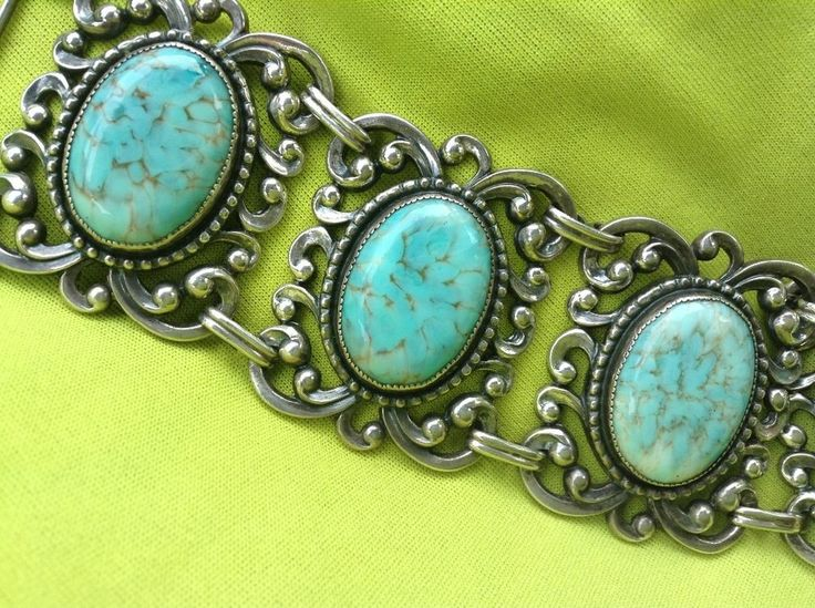 Amazing Vintage Danecraft Sterling Amp Turquoise Chunky