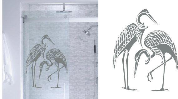 Asian Herons DIY Etched Glass Vinyl Window Film by StickerChef