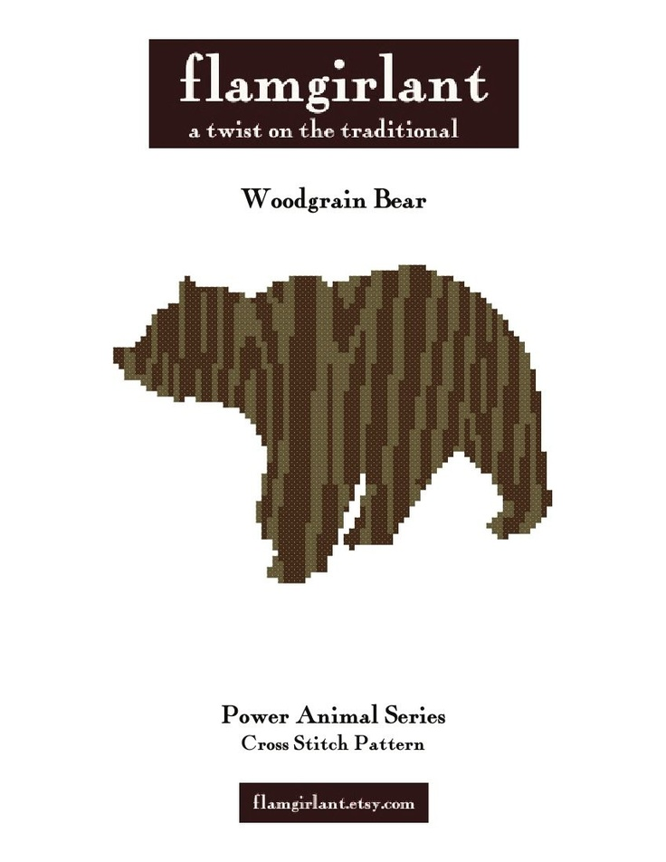 Power Animal: Woodgrain Bear Cross Stitch Pattern. $6.00, via Etsy.