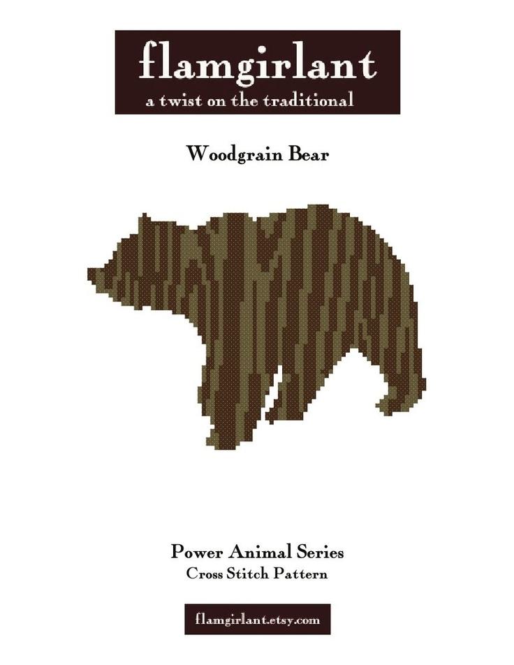 Power Animal: Woodgrain Bear Cross Stitch Pattern. $6.00, via Etsy.