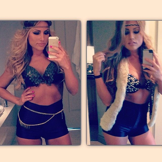 """DJ AMiiRAH wearing """"Jasmine Romero Swim"""" Fall outfits for their Las Vegas gig at Marquee Pool Party"""