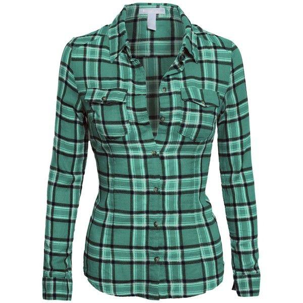 Women's Classic Collar Button Down Long Sleeve Lightweight Plaid... ($19)  ❤. Green Flannel ShirtPlaid ... - Best 25+ Green Flannel Shirt Ideas Only On Pinterest Oversized
