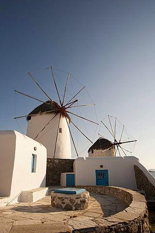 Molinos de viento, Mykonos Town of Chora, Cícladas, Grecia, Europa