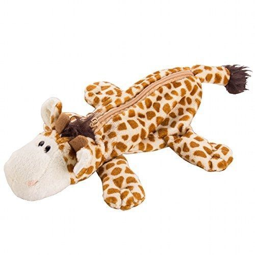 Flexibuy Cute Cartoon Animal Design Giraffe Soft Plush Pencil Box Case Pocket #Flexibuy