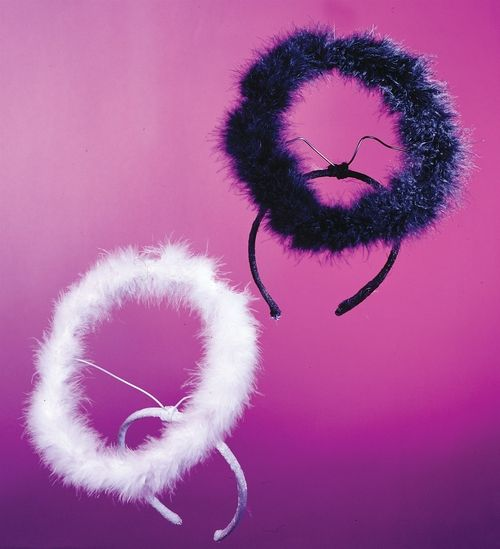 Marabou Halo - This a made out of marabou so its as soft as your are in your angel costume. two supporting wires and a bendable frame make the halo bend in any direction. A sturdy headband keeps it secure on your angel head. #halo #yyc #costume #headband #halloween