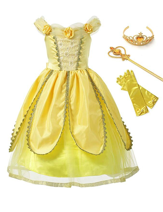 Princess Belle Costumes Princess Dress Up Halloween Costume for Little Girl
