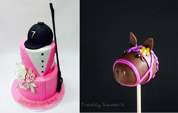 equestrian cake by Lulu Cake Boutique left, horse's head cake pop by Freshly Squeez'd