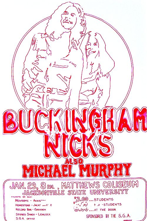Posted by Crystalline on Tumblr - Poster advertising one of the very last 'Buckingham Nicks' concerts in Matthews Coliseum at Jackson State University on Jan 29, 1975.