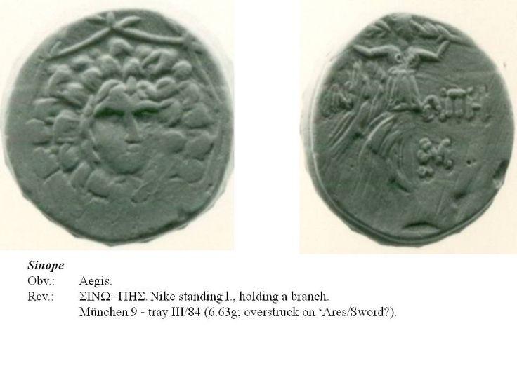 Greek overstrike. Paphlagonia. Sinope. Aegis/Nike on undetermined type. Time of Mithradates.