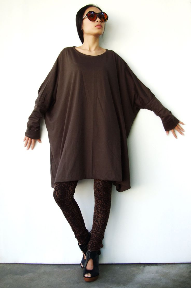 NO62 Brown CottonBlend Oversized TShirt Tunic by JoozieCotton