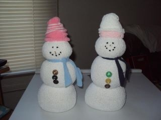 Inside out tube sock snowmen... cheap and easy!