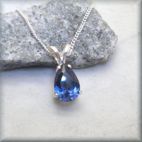 Blue Sapphire Necklace Pear Blue Sapphire Birthday Gift For Etsy Blue Sapphire Necklace Pear Shaped Diamond Necklace Sapphire Necklace