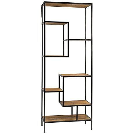 This book shelf helps expand the feel of a small room since your eye keeps looking past the piece! This contemporary reclaimed wood bookcase features multiple shelves at varying heights for a modern, decorative display.