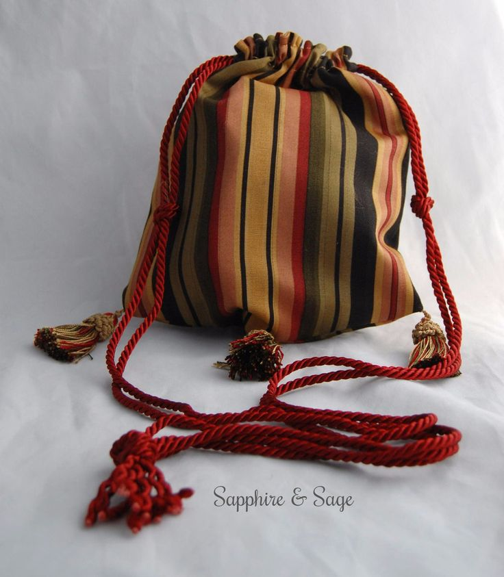 "Aislin Fully-Lined Drawstring Bag Purse Keepsake Pouch in Jewel-tone Stripes  www.sapphireandsage.com  Elegant drawstring bag, fully lined.  Approximately 8""x8"" interior.  Choose your drawstring length to best suit your needs - perfect for carrying your valuables easily and fashionably at your favorite Renaissance faire, or your local coffee hot spot!"