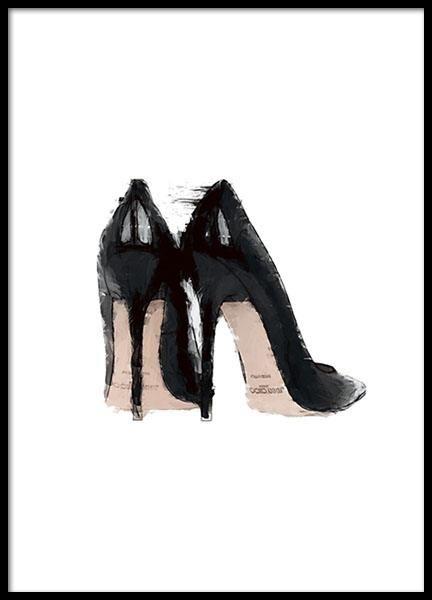 Póster con ilustración de moda de zapatos negros.