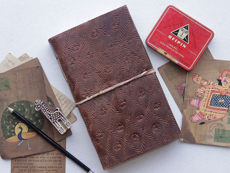 Large Embossed Leather Notebook