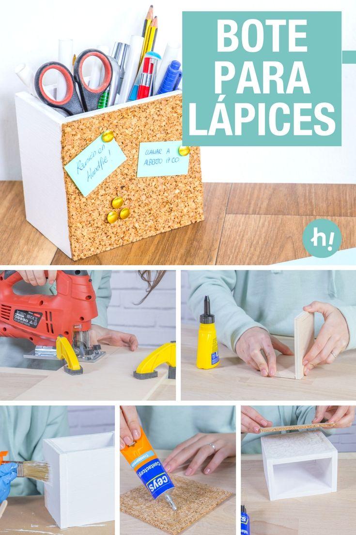 Portalápices casero de madera y corcho ➜ Cómo hacer un portalápices para poner un poco de orden en tu escritorio. #Lapicero #Madera #Corcho #Escritorio #Lápices #DIY #Crafts #Ideas #Manualidades #Tutorial
