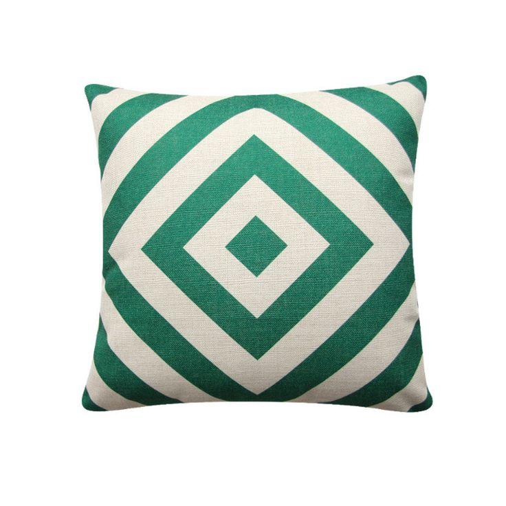 "Green Geometric Diamond Pillow Cover, 18""x 18"" Cushion Cover, Geometric Cushion, Emerald Green, Minimalist Cushion Tribal Cushion 384 by BeadandReel on Etsy https://www.etsy.com/listing/291686047/green-geometric-diamond-pillow-cover-18x"