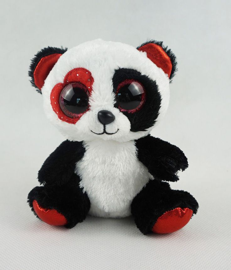 6  TY Beanie Boos New Glitter Red Eyes Valentina Panda Bear Plush Stuffed Toy | eBay
