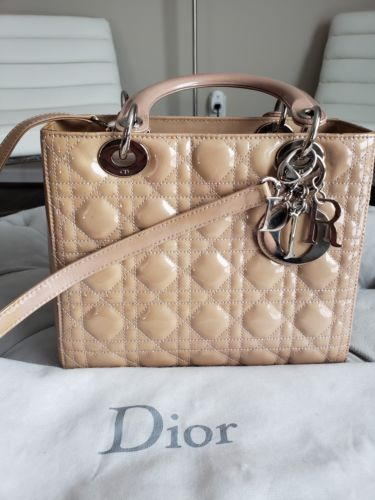 267bd607c Details about Auth Christian Dior Lady Dior Cannage 2way Hand Bag Beige Patent  GHW in 2019 | Dior | Dior, Dior handbags, Chanel handbags