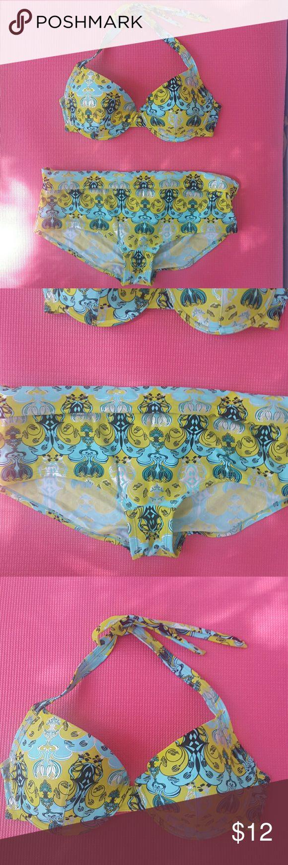 NWOT Green/ turquoise bikini Never worn, received as a gift, too large. Bra UK 75D. Bottom UK 44 lindex Swim Bikinis