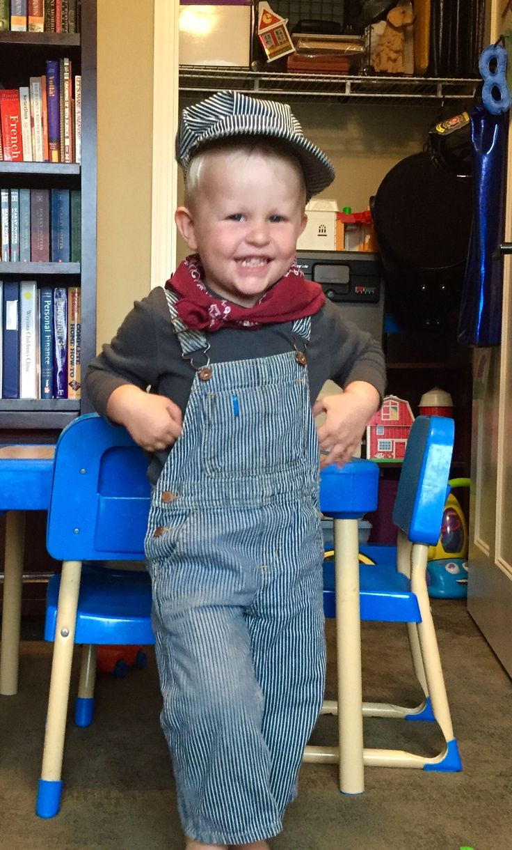 DIY train engineer costume for 2 year old. overalls from