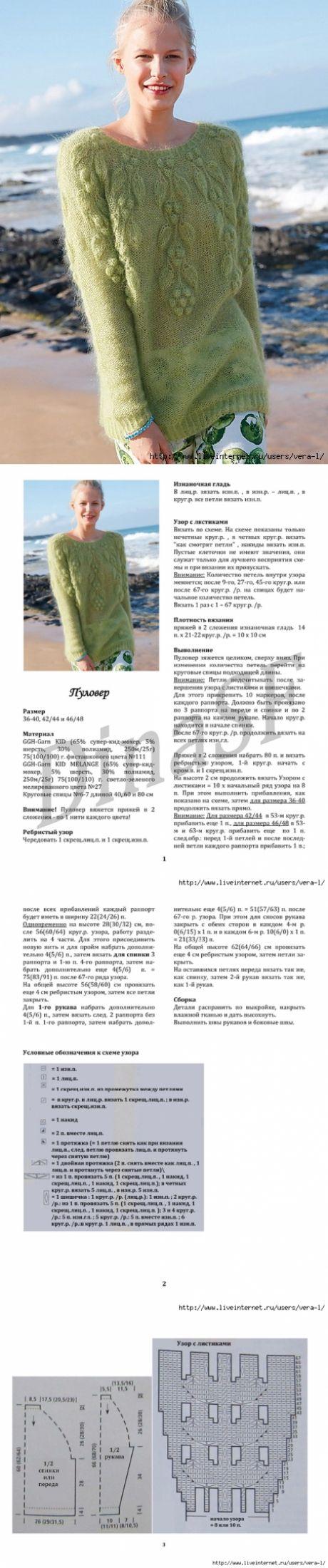 Мохеровый пуловер с растительным узором