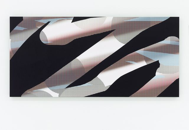 JONAS MAAS Untitled, 2015 Acrylic, chalk, UV print, aluminum 17 4/5 × 41 3/10 in