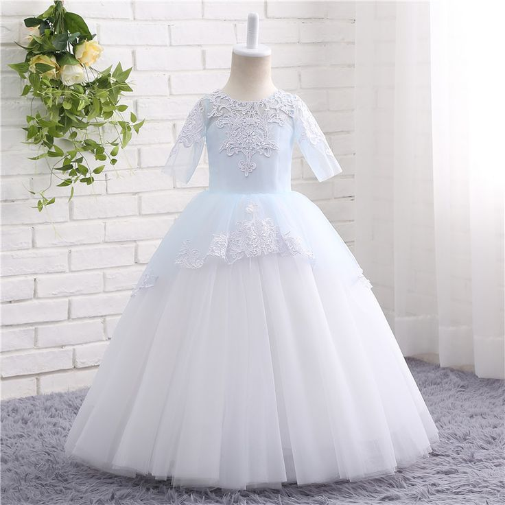 >> Click to Buy << Really Photo In Stock Half Sleeve Floor Length Tulle And Lace Embroidery Gaun Dress Pesta Dresses First Communion Beading 18804 #Affiliate