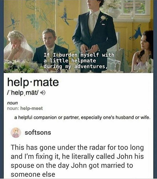 Sherlock called John is spouse.