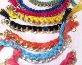 Bracelets chain and cotton by Giovanna Cargnelli on ALittleMarket bracciali catena e cotone : Braccialetti di giovanna-cargnelli su ALittleMarket