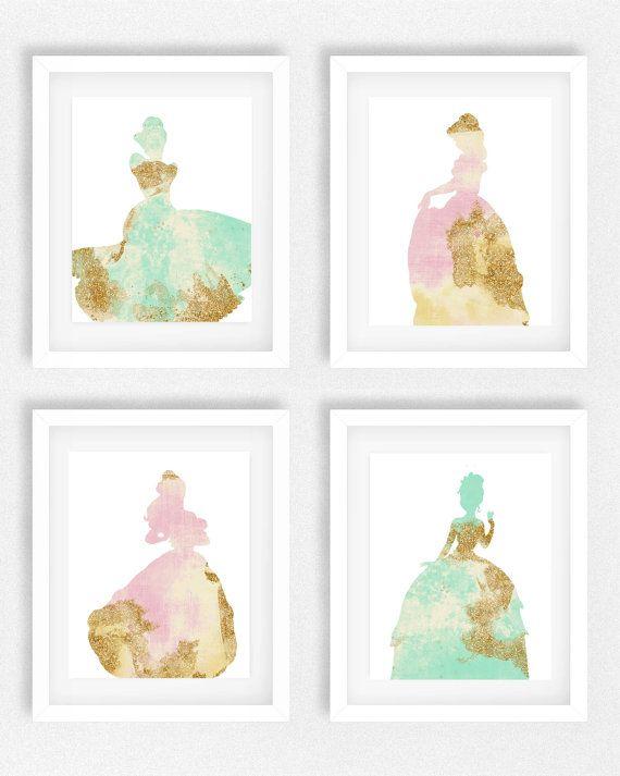 Disney Princess Nursery, Set Of 4, Girls Room, Princess Picture, Disney  Theme, Baby Shower Art, Gift For Daughter, Little Girls Room, Tink