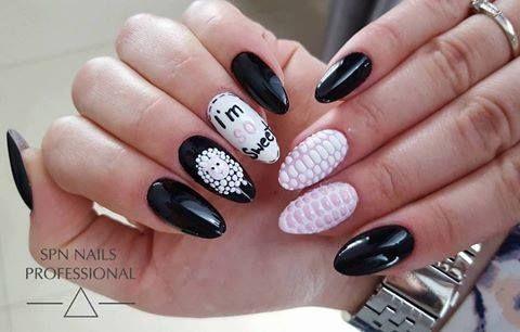 SPN Nails UV laq Black Tulip, Wedding dress, UV painting