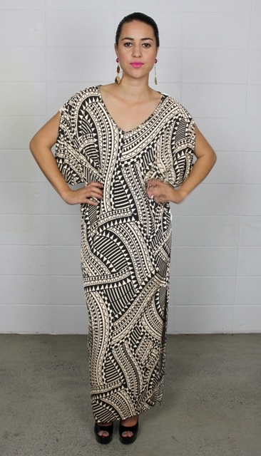 Aina Maxi Dress  Code: SS12 Aina     MENA knit maxi dress in a relaxed loose fitting style with draping sleeves and split on one side  Fabric: Polyester 95% Spandex 5%