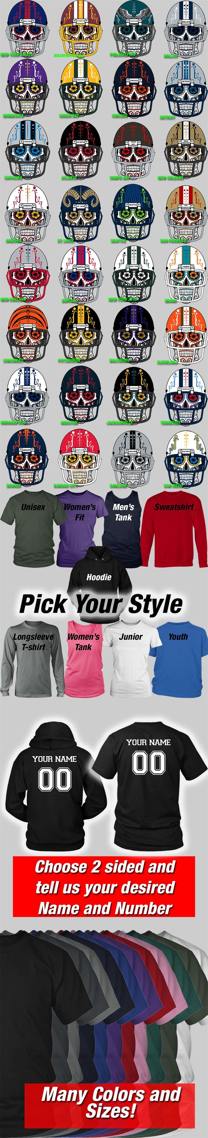 Design your own football jersey t-shirt - Custom Nfl Team Shirts And Hoodies Sugar Skull Calavera Nfl Designs On