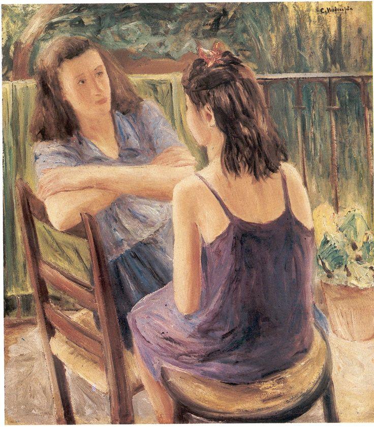 Carlo Verdecchia (Casoli di Atri/TE 1905 - Atri 1984) Al balcone 1934 olio su tela cm 100x89 Napoli Coll. Privata