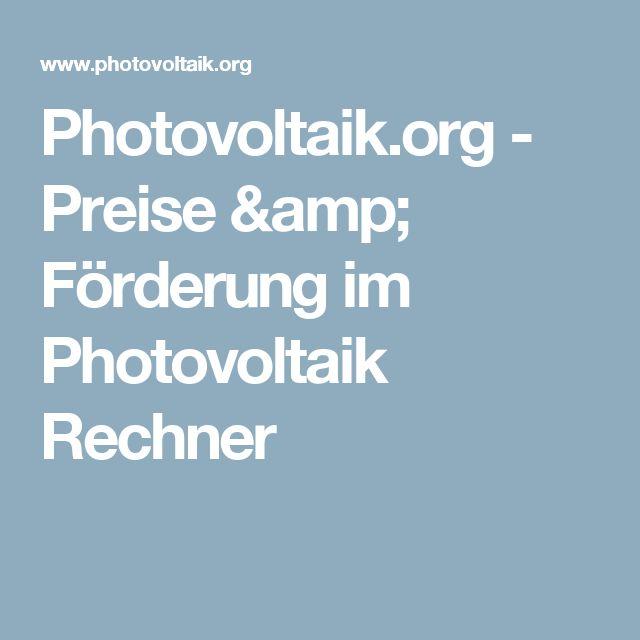 Photovoltaik.org - Preise & Förderung im Photovoltaik Rechner
