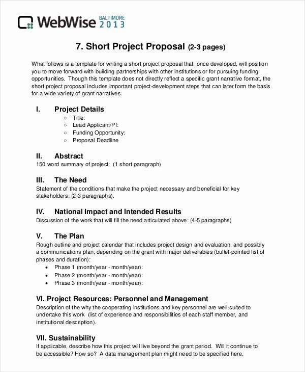 Project Proposal Outline Sample Best Of Free 43 Simple