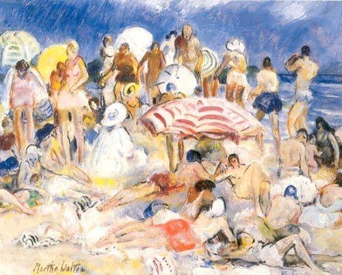 Martha Walter (American Impressionist, 1875–1976) Crowded Beach: Martha Walter, Crowd Beaches, Art Group, Beaches Martha, American Martha, American Impressionist, 18751976, Beaches Art, Walter American
