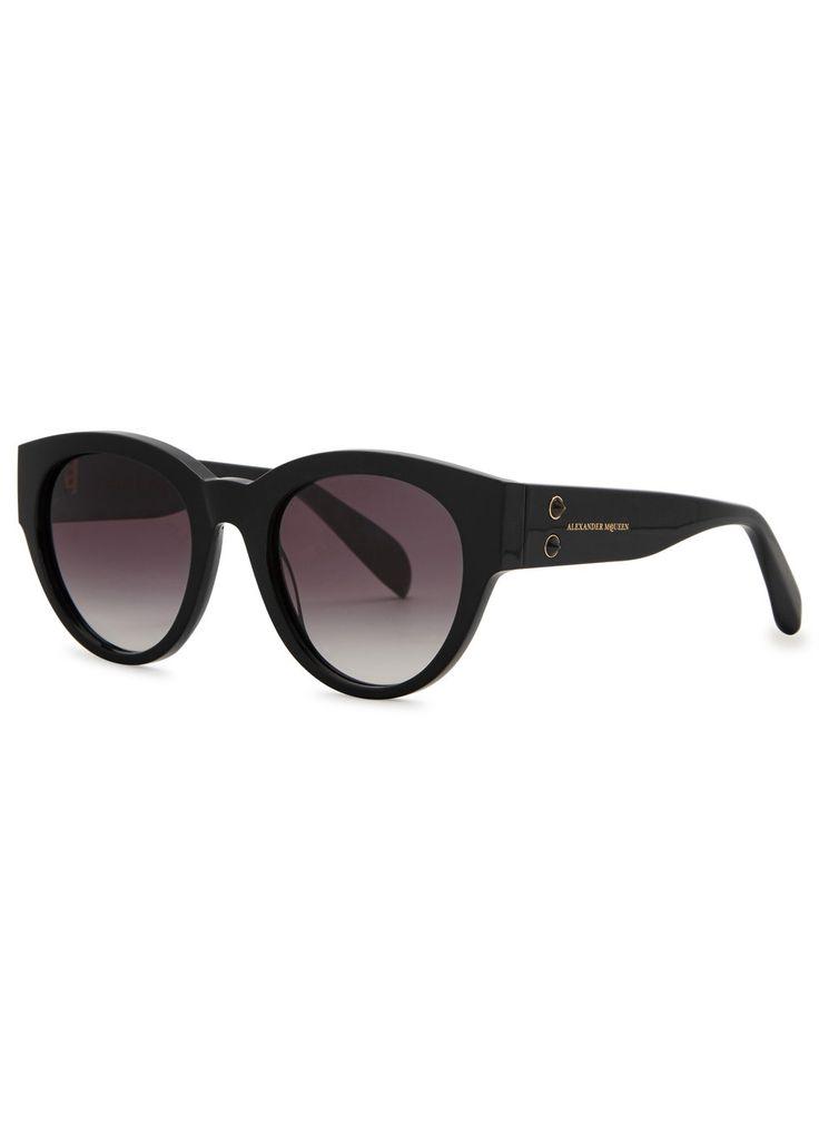 ALEXANDER MCQUEEN Black round-frame sunglasses (SC176396) £296.00