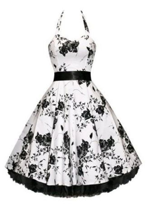 Elegant Black and White Floral Vintage Style Party Dress! Noble Halter High Waist Floral Print Pleated Ball Gown Dress For Women #Black_and_White #Retro #Style #Vintage #Floral #Party #Dress #Fashion