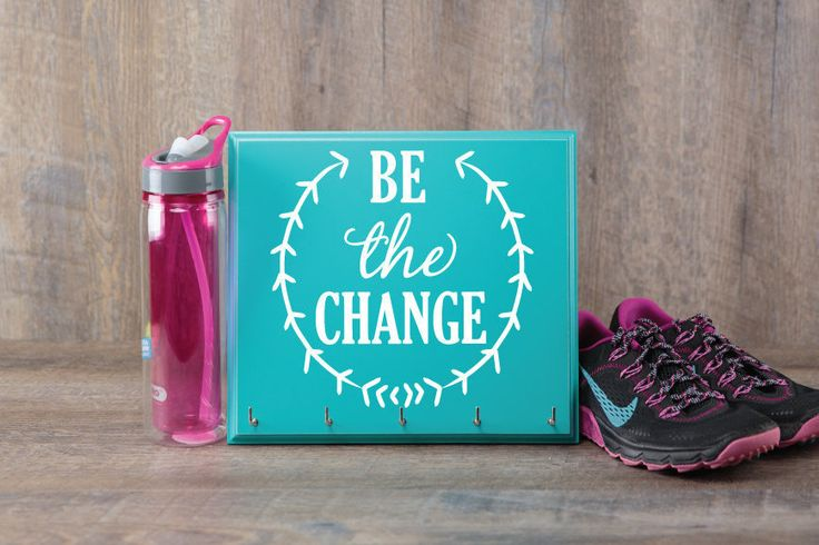 Race Medal Display - Be the Change Medal Display Rack - Great Running Gift by StrutYourStuffSignCo on Etsy
