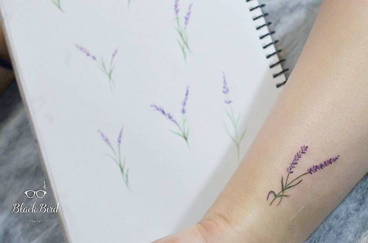 Lavender flower on the wrist.