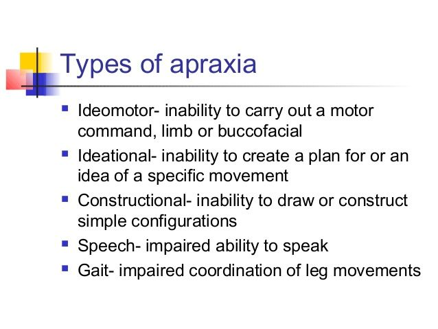 Image result for ideational vs ideomotor apraxia  Boards