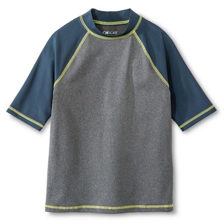Boys' Cherokee Blue Swim Rashguard - Blue L, Costume Blue