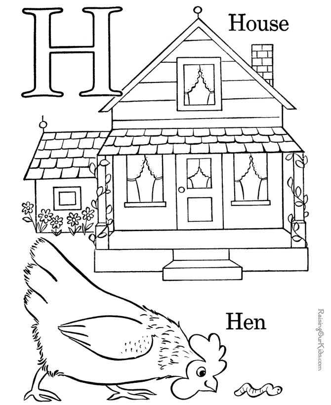 free alphabet coloring pages letter h 012 - Preschool Colouring