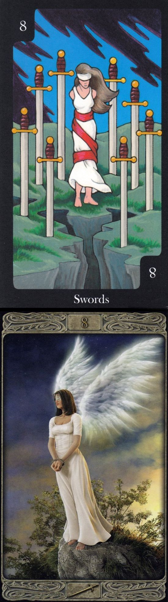 Eight of Swords: self-victimizing thoughts and recognizing your self-victimizing beliefs are holding you back (reverse). Hallmark Tarot deck and Ghost Tarot deck: 6 card tarot reading, one card tarot reading and tarot definition.